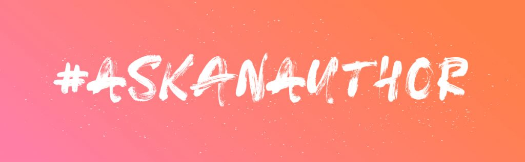 Pink and orange gradient backgrounf with text: #ASKANAUTHOR